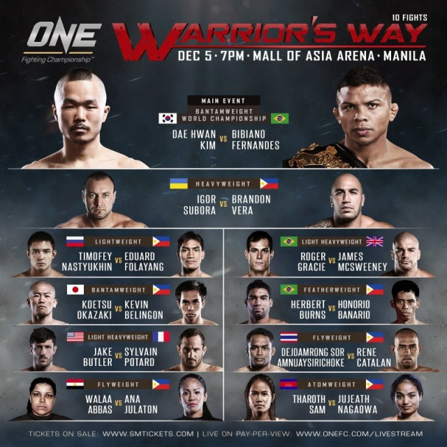 BRANDON VERA TO LEAD PACK OF 7 PINOYS AT ONE FC: WARRIOR'S WAY