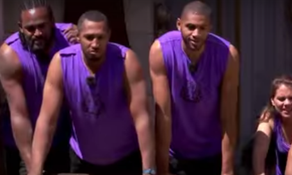 Tony Parker, Boris Diaw, Nick Batun and Ronnie Turriaf play a game with a tiger