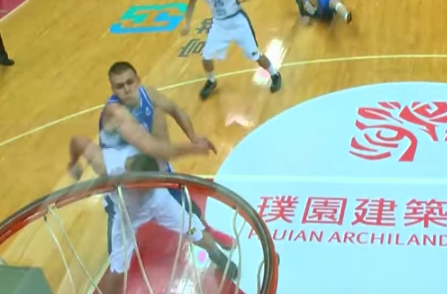 Watch this Dirty Russian basketball player elbow Sonny Thoss on the head
