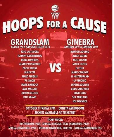 PBA Grand Slam Team vs Ginebra San Miguel Venue and Ticket details