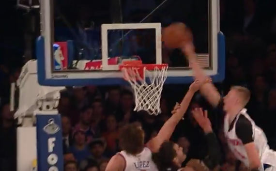 Kristaps Porzingis Elavates and Throws Down a Monster Tip-Slam