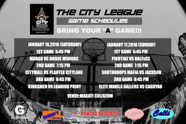 The City League  Schedule 2nd week of our tournament.