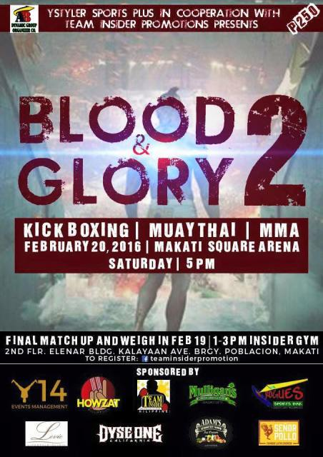 Blood and Glory 2 : Muay Thai Event on Feb 20