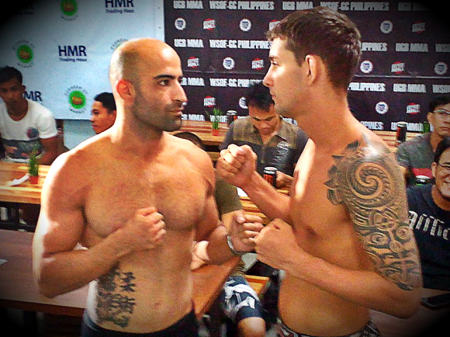 WSOF/ UGB MMA Affliction Weigh-Ins yesterday, Fighters Measured Their Opponents. ( Photos)