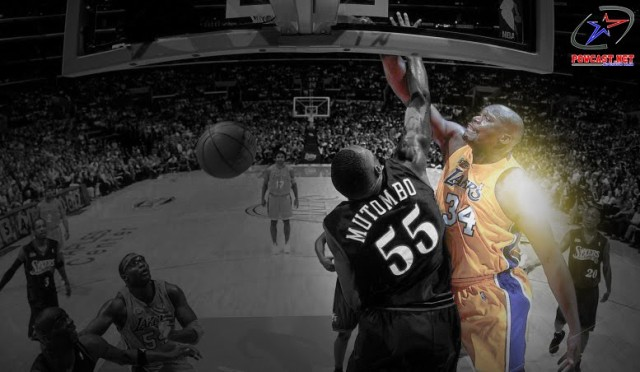 Shaq dunks on Mutombo