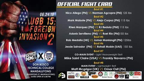 UGB 15: Foreign Invasion2 -  Official Fight Card