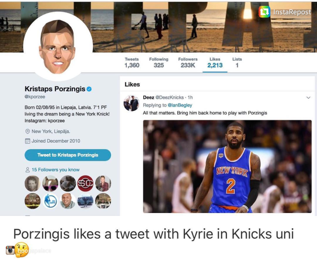 Kristaps Approved: Kyrie Irving to New York