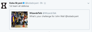 Kobe Challenges John Wall to be a 1st team all defense team