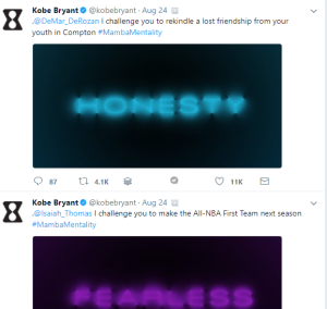 Kobe Bryant Challenges Allyson Felix to coach the special Olympics, Also challenge Kendrick Lamar.