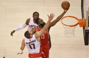 James Harden and Jonas Valanciunas