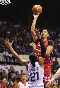 Japeth Aguilar with a teardrop against Hugnatan